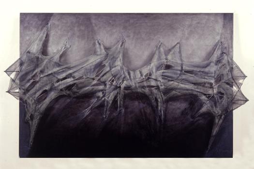 Técnica mixta de tela metálica y oleo sobre madera 89 x 130 cm 1990